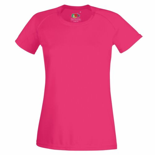 New Womens Fruit of the Loom Performance T Shirt Wickable Breathable Sport T TOP