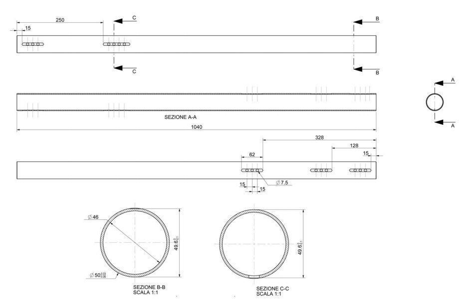 Hinterachse 50x1040mm 2mm 2mm 2mm Wandung hart (C) a64903