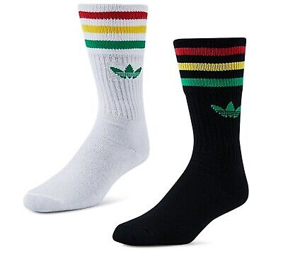 Adidas Originals Socken 3 Streifen Crew Trefoil 2 Paar Männer Frauen schwarz UK 8.5 11 | eBay