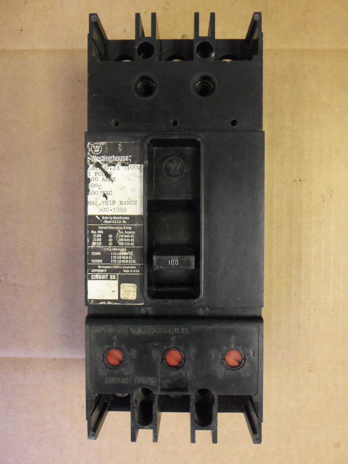 WESTINGHOUSE JB JB3100W 3 POLE 100 AMP CIRCUIT BREAKER FLAWED