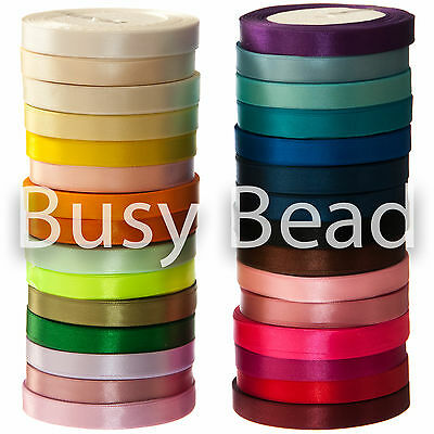 Satin Ribbon 12mm - 1/2 inch - Wide On 22 Metres  - Approx. 25 Yards - Spools