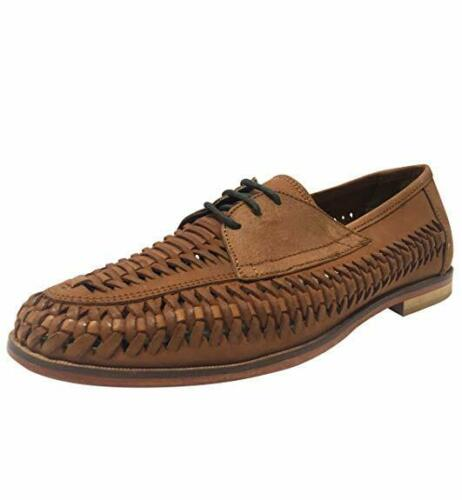 RRP £65 Mens Brixton Leather SlipOn Loafers Boat Summer Woven Shoes Tan UK 8-10