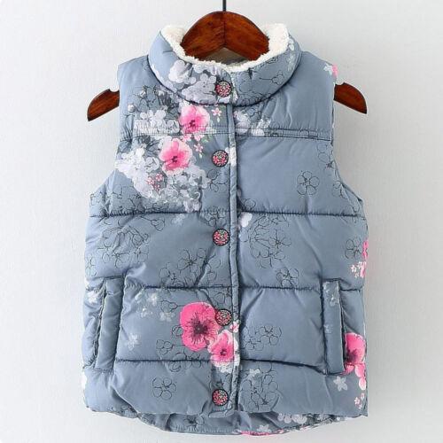 Enfants Filles Imprimé Floral Sans Manches Veste manteau hiver chaud gilets