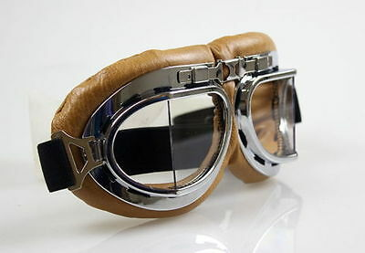 Biggles Brown Flying GOGGLES WW2 style Bomber Aviator Goggles Steam Punk