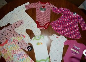 Stainfree/great Cond Lot Of Girls 0-3 Mos Pajamas & Snap-bottom Tees Dress