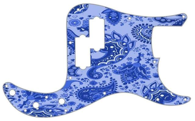 a58f14ab07e4 P Bass Precision Pickguard Custom Fender 13 Hole Guitar Pick Guard Blue  Paisley