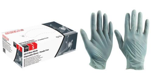 XL L Box of 1000 Shield GD19 Blue Disposable Nitrile Gloves Powder Free M