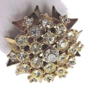 Superbe Broche Bijou Vintage Cristaux Solitaire Diamant Ronde Couleur Or 2199