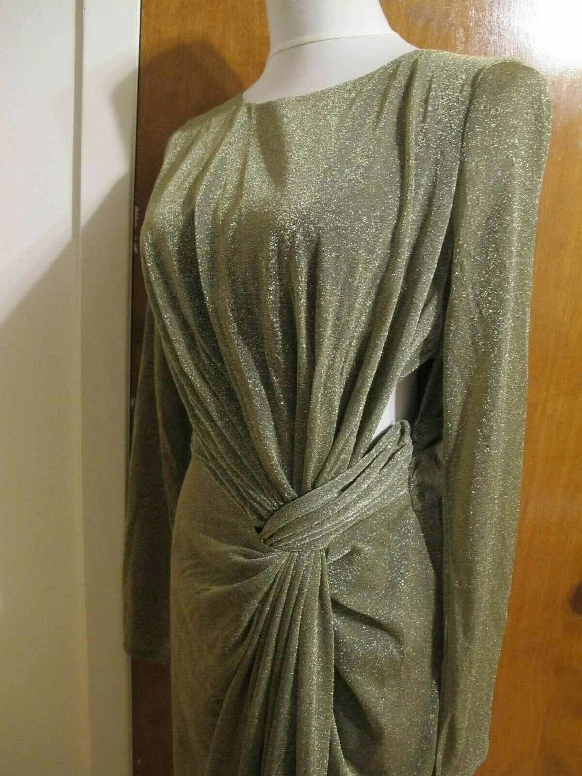 Rachel Rachel Rachel Roy Women's gold Metallic Twist Front Maxi Coctail Dress Medium Large NWT efe09d