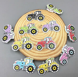 100X-Cartoon-car-Wooden-Sewing-Buttons-Mixed-color-decoration-scrapbooking-32mm