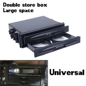 CX-28-Universal-Double-Din-Fascia-Tray-Storage-Box-and-Cup-Drink-Holder-Black