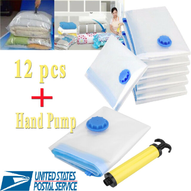 12x Vacuum Storage Bags E Saver Hand Pump For Travel Triple Seal Clothes