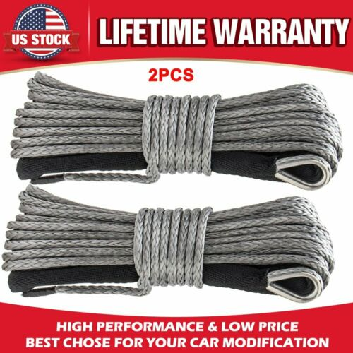 "1//4/"" 50ft Winch Rope Extension,Synthetic Winch Rope Cable ATV Line w//Thimbles 2X"