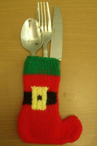 Knitting pattern Christmas boot cutlery holder