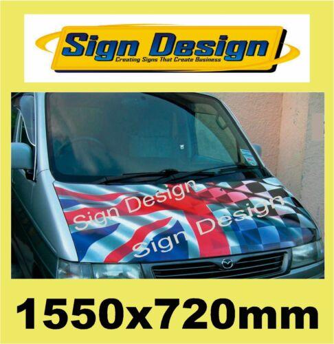 Stampato sventolando Union Jack Bandiera a Scacchi adatta auto furgone COFANO DECALCOMANIE GRAFICHE