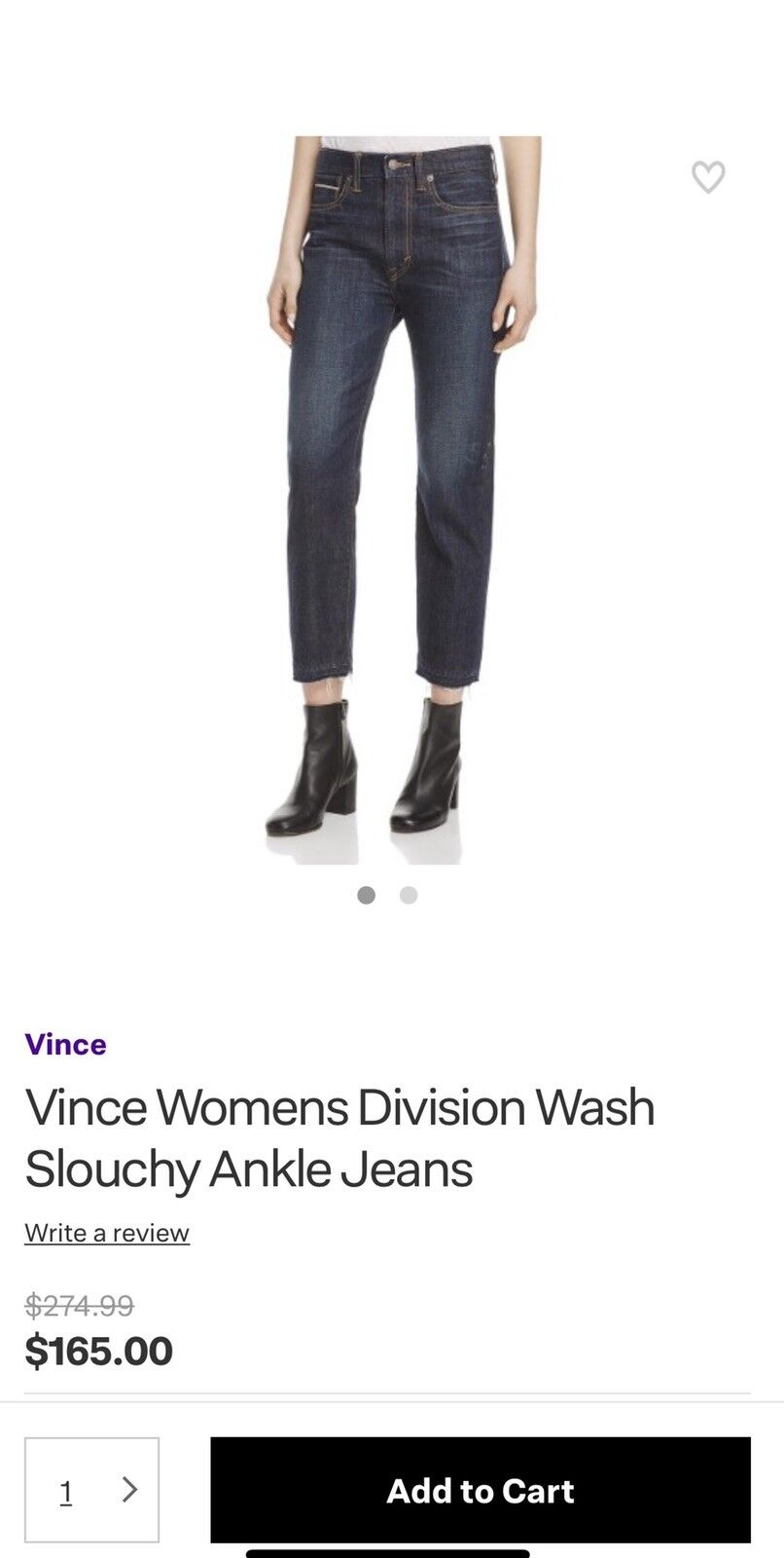 NWT Vince Division Wash Cropped Relaxed Ankle Jeans Size 27
