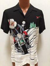Tori Richard Harley-Davidson Christmas Santa Claus Reindeer Sleigh Camp Shirt M