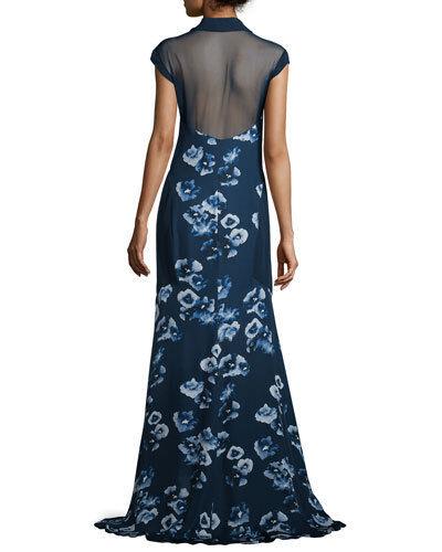 Haute Hippie  Floral- Print Silk Shirt Maxi Maxi Maxi Dress    1095.00  Size S 9d234b