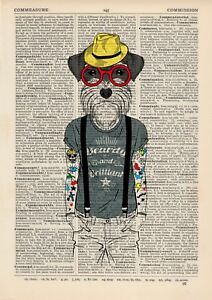 Tattooed Terrier Dictionary Wall Art Print Animal In Clothes Vintage