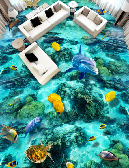 3D Blau Sea Bottom 4 Floor WallPaper Murals Wall Print Decal AJ WALLPAPER Summer