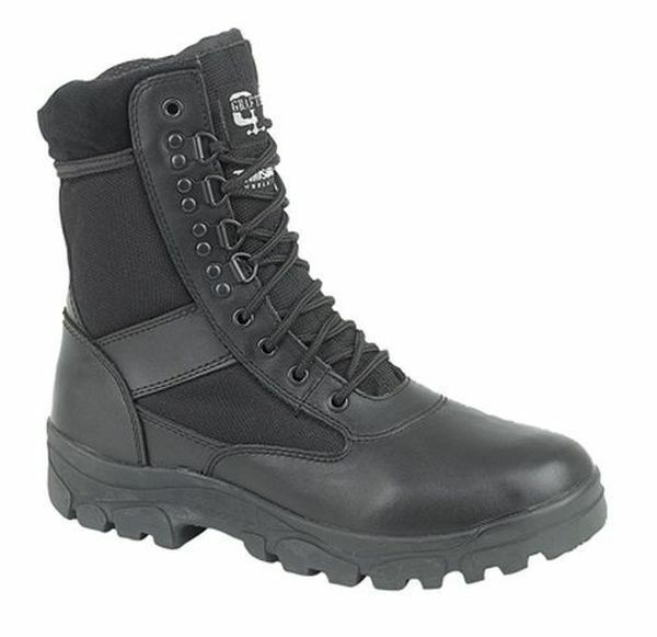 SIZE MENS 3-15 TALL HIGH COMBAT BLACK ARMY PARADE POLICE MOD BLACK COMBAT LEATHER FABRIC BOOT 9a23a0