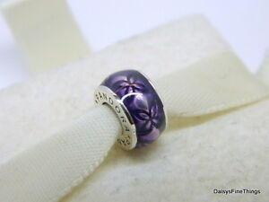 3288163ff Image is loading NEW-AUTHENTIC-PANDORA-SPACER-VINTAGE-FLORAL-PURPLE-ENAMEL-