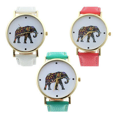 Fashion Geneva Women Elephant Pattern Leather Analog Quartz Dial Watch Excellent