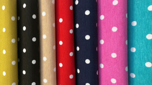 PINK Polka Dot Fabric Spots Dots PolyCotton Material Chic Textile 140 cm Wide