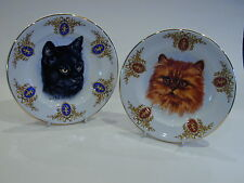 Vintage Wood & Sons Burslem 'Derick Bown' pair Cat plates with cupid on rim