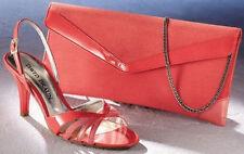 NEU: ELEGANTE DESIGNER CLUTCH ABENDTASCHE aus LEDER rot DAVID BRAUN 119€ *019712