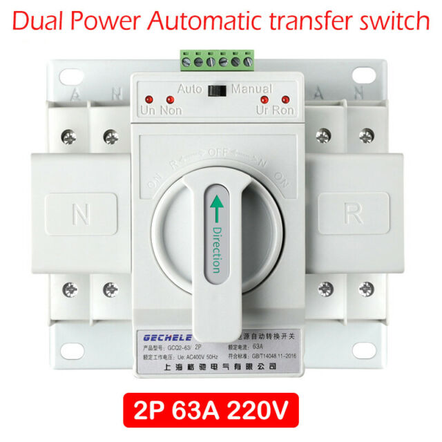 2p 63a 220v MCB Typ Dual Power Automatic Transfer Switch ATS