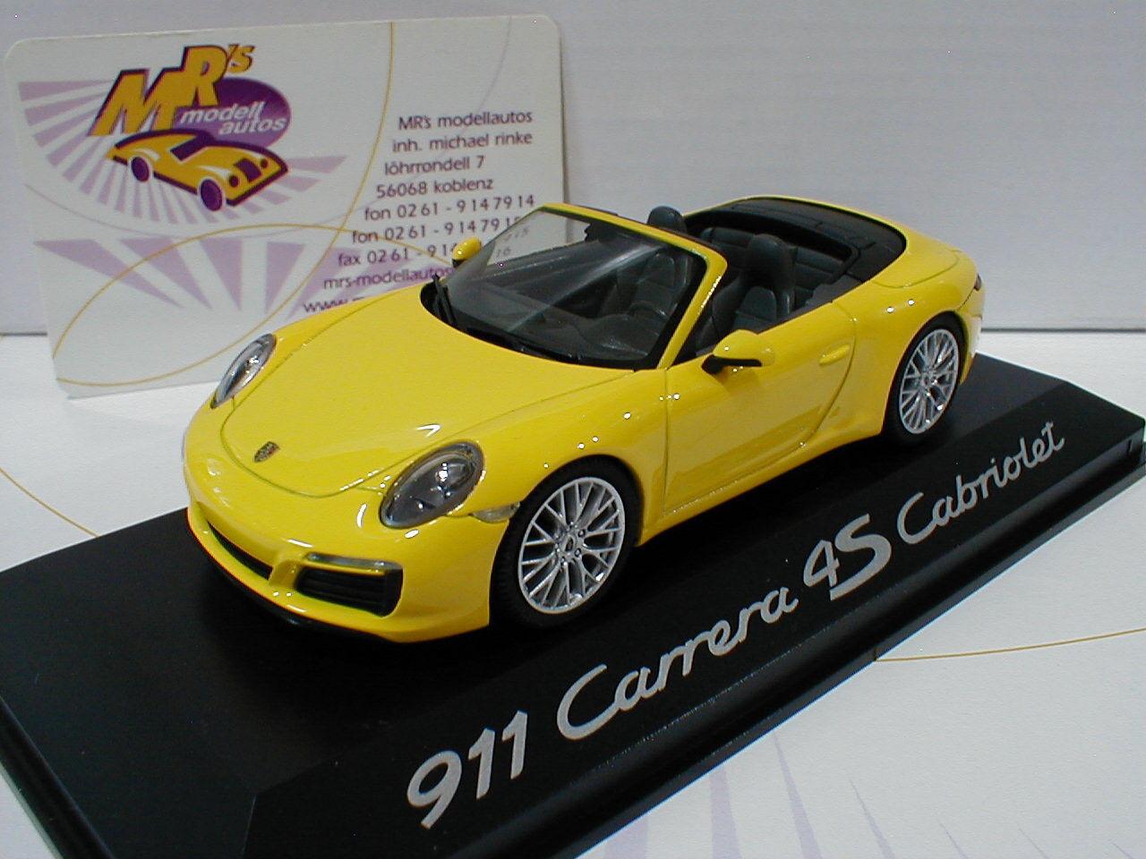 HERPA wap0201090g   porsche 911 Carrera 4s Cabriolet Année Modèle 2016 dans  jaune  1 43
