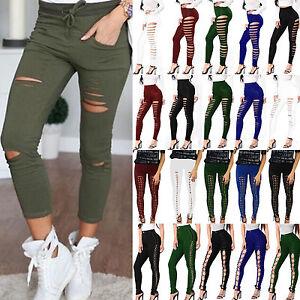femme-taille-haute-Punk-Pantalon-skinny-fin-serre-lacet-gothique-leggings