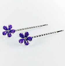 USA Bobby Pin Hair Clip use Swarovski Crystal Hairpin Elegant Flower Purple 28