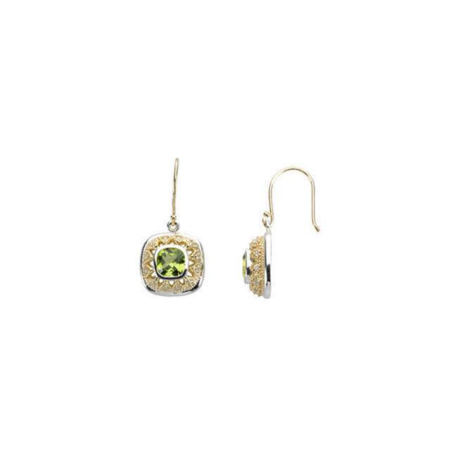 Peridot & 1/8 ct. tw. Diamond Earirngs In Sterling Silver & 14K Yellow Gold