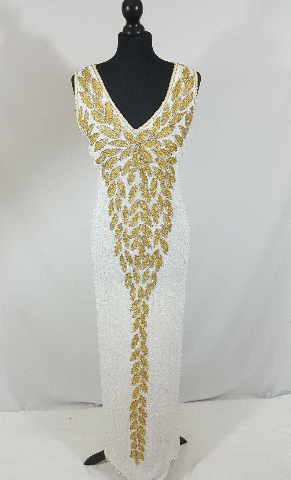 Ladies Maxi Christmas Party Beaded Gatsby Dress Jacket Plus Größe 14 16 18 20 22