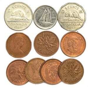 10 Coins From Canada Coins Canadian 1 10 Cents Ebay