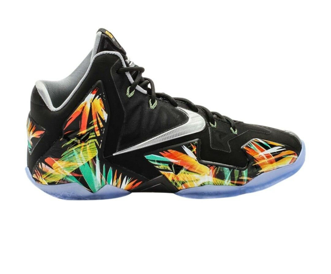 B12 Nike Lebron XI  EVERGLADES Black Silver Mango Multicolor 616175 006 Sz 9