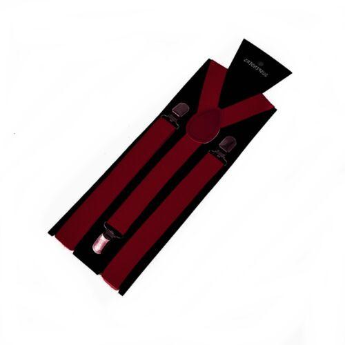 Bretelles homme femme Jeans bretelles 25 mm Large clips Bordeaux Bordeaux