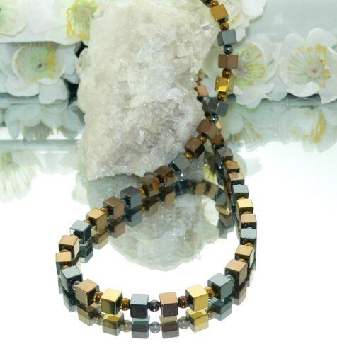 Kette Halskette Perlen Würfelkette Hämatit Würfel braun bronze schwarz gold 067d