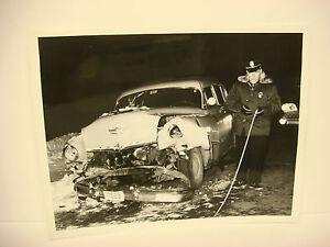 Details about Vintage Car Wreck Photo NH Accident Scene 1957 Desoto  Head/Wreck Trooper SPP028