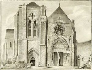 Faceplate-L-039-Church-of-Priory-of-Long-Pont-Millin-Engraving-Original-18th
