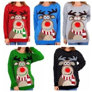 a4d8f9bd9511 NEW WOMENS CHRISTMAS JUMPER LADIES RUDOLPH 3D POM POM KNITTED XMAS ...