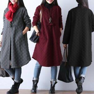Belle-Femme-Manteau-Cardigans-Couleur-Unie-Loisir-Loose-Manche-Longue-Veste-Plus