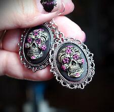 Blk&Pink Silver Sugar Skull Calavera Day of the Dead Dia De Los Muertos Earrings