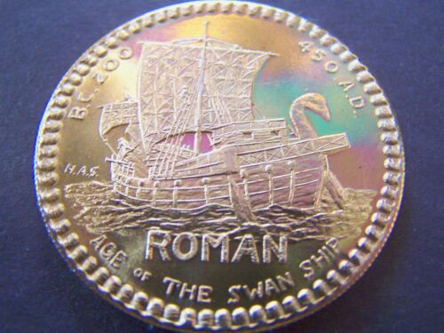 HAS ROMAN SWAN SHIP Bronze Mardi Gras Doubloon 1968 Poseidon