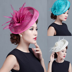 930b37c1e72 Image is loading Hot-Sinamay-Big-Flower-Fascinator-Hat-Cocktail-Headband-