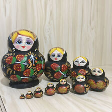 Set of 5 Strawberry Blue Dress Matryoshka Russian Nesting Dolls 6.75 Inches