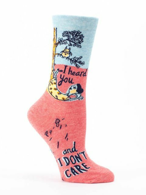 Women's Crew Socks, I Heard You and I Don't Care Blue Q, Cotton, Size 5-10, Gift