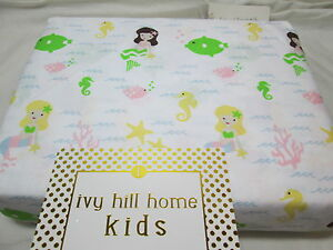 Ivy Hill Home Kids UNDER THE SEA Twin Sheet Set ~ Mermaid, Coral, Seahorse, Fish